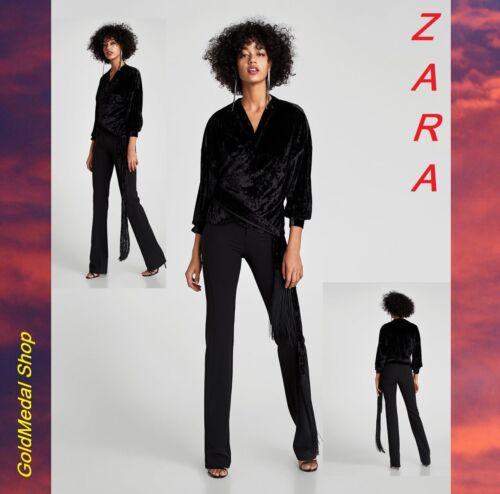 ZARA velours noir Crossover haut//chemisier avec frange liens NEUF avec étiquettes XS ; S ; M