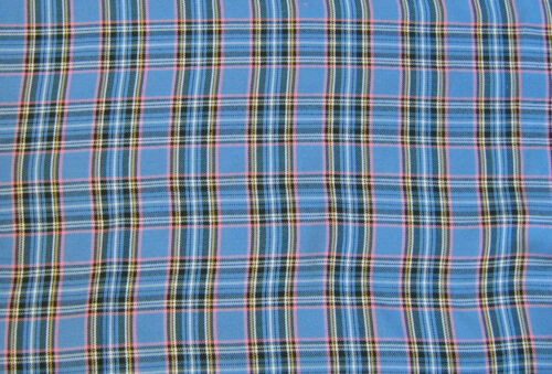 Tartan Plaid Carreaux Tissus De Laine Bleu Rouge Matériau Arts et artisanat tissus!
