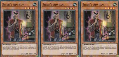 SUPER RARE YUGIOH CARD 3 X  SHIEN`S ADVISOR   SPWA-EN046 SPIRIT WARRIORS