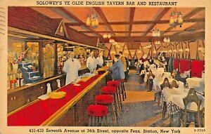 NEW-YORK-SOLOWEYS-YE-OLDE-ENGLISH-TAVERN-BAR-RESTAURANT-7th-AVENUE-1939-POSTCARD