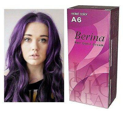 BERINA CREAM A6 VIOLET Permanent Hair Dye Super Color BEAUTY PUNK STYLING
