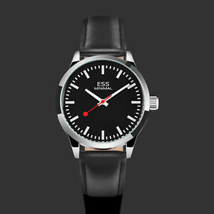 ESS-Mens-Watch-Automatic-Black-Dial-Leather-Strap-3-Hands-Analog-Display-Luxury