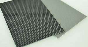 Details about Black Carbon Fibre Effect & Silver Acrylic Capped ABS Sheet  3mm A4 & A3 sheets