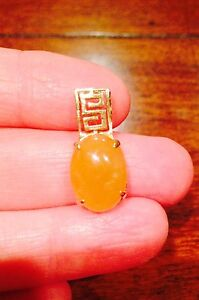 RARE-Vintage-Estate-YELLOW-JADE-14k-Gold-Necklace-Pendant-Greek-Key-Design