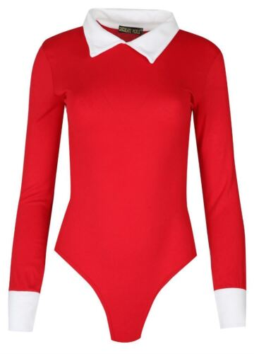 New Womens Long Sleeve Collard Leotard Bodysuit 8-14