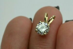 1-00-Ct-Round-Cut-Solitaire-14k-Yellow-Gold-Over-Diamond-Pendant-18-034-Chain-Free
