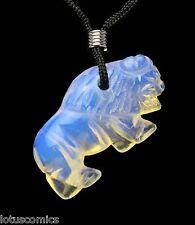 Buffalo Opalite Gemstone Animal Pendant Hand Carved Stone Necklace