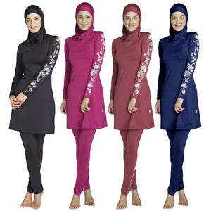 Womens Islamic Muslim Full Cover Costume Modest Swimwear Burkini Swimming Ladies