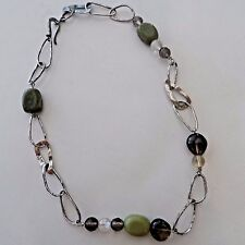 Silpada Sterling Silver Link Jade Citrine Smoky Quartz Necklace N1218 .925