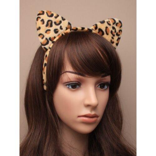 MORBIDA imbottita pelliccia modello Orecchie da Gatto Capelli Alice Banda Fascia Per Capelli Costume Leopardo