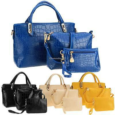 3pcs Women Handbag Shoulder Bags Totes Messenger Bag Purse Leather Satchel C1M