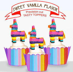 Awe Inspiring Mexican Theme Pinata Birthday Party Edible Xl Cupcake Toppers Funny Birthday Cards Online Benoljebrpdamsfinfo