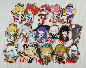 T1363-Anime-Fate-Grand-Order-rubber-Keychain-Key-Ring-Straps-Rare-cosplay-A