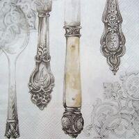 5 Servietten Vintage Shabby Antikes Silberbesteck Messer Gabel Löffel Napkins