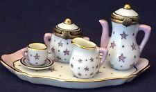 Fabulous Vintage Miniature Limoges 7-Piece Porcelain Tea Set