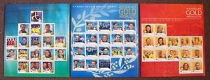AUSTRALIAN-OLYMPIC-GOLD-MEDALLISTS-2000-2004-2008-3-STAMP-SHEETLETS