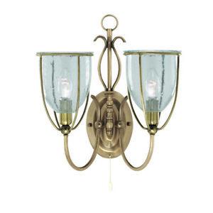 Decoratif-2-flammige-Applique-Murale-Luminaire-Verre-Metal-Led-Compatible-Drop