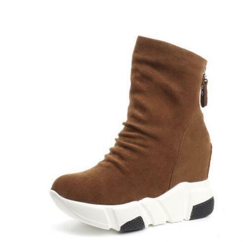 Womens High Hidden Wedge Heels Ankle Riding Boots Boots Boots Platform Round Toe shoes F871 b1213c
