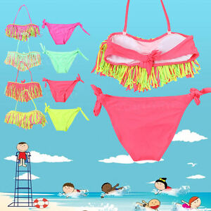 5435cff06636b Kids Baby 3-12 Year Old Girls 2 Pieces Summer Tassel Nylon Swimsuit ...
