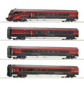Roco-h0-64190-wagenset-railjet-la-OBB-034-para-Marklin-iluminacion-LED-034-nuevo-embalaje-original