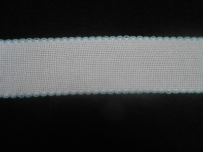 Zweigart 1 Metre White Aida Band 8cm//3 Inch White With a Gold Scalloped Edging