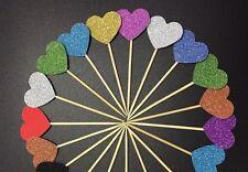 12 x Glitter 25mm Herzförmig Cupcake Deckel bunt party dekoration vorräte