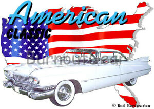1959 Blue Flames Blown Cadillac Custom Hot Rod USAT T-Shirt 59 Muscle Car Tee/'s