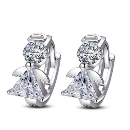 Silver//Gold Women Girls Little Crystal Round Hollow Hoop Earrings Jewelry WE