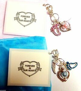 034-Forever-in-our-Hearts-034-Angel-Baby-Loss-Lost-Memorial-Clip-on-Charm-Gift-on-Card