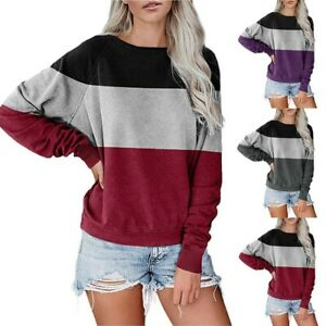 Women-Tops-Blouses-Long-Sleeve-T-Shirts-Pullover-Crewneck-SpliceSweater-New