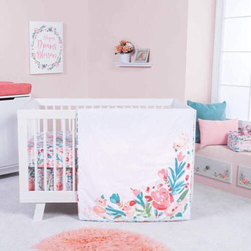 Trend Lab Painterly Floral 3 Piece Baby Nursery Crib Bedding Set NEW
