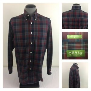 Orvis-Wrinkle-Free-Mens-M-Long-Sleeve-Blue-Red-Plaid-Cotton-Flannel-Shirt