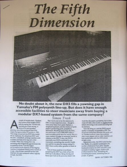 Details about The Fifth Dimension, article on the rare Yamaha DX-5 FM  Synthesizer