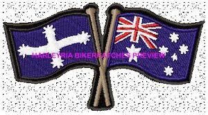 AUSTRALIA-EUREKA-CROSSED-FLAGS-BIKER-PATCH-100-X-55MM
