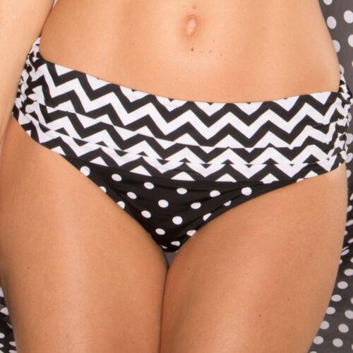 7213 POUR Moi KEY WEST arricciato Slip Bikini Nero Bianco