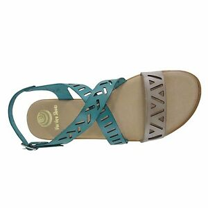 Details about Size 11 Laser Cut Flat Sandals Made in Spain Teal & Grey Crossover Large Shoes