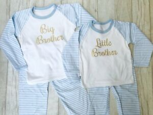 75c0044a28d6 Boys Blue White striped PYJAMAS Little BROTHER Big Brother Sleepwear ...