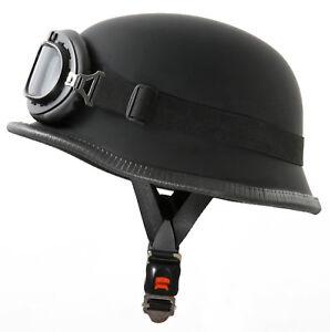 Stahlhelm-Wehrmacht-WH1-L-Kradmelder-Motorradhelm-Helm-Brille-fuer-Oldtimer-Moped