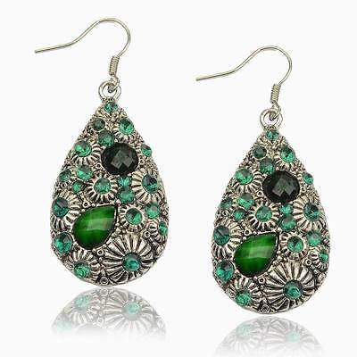 Vintage Diamante Rhinestone Resin Gem Eardrop Teardrop Dangle Hook Earrings