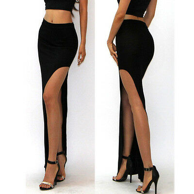 Womens Ladies New Stylish Plain Slit Split Side Long Sexy High Waist Skirt Black
