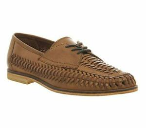 RRP-65-da-uomo-BRIXTON-Pelle-Slipon-Mocassini-barca-estate-scarpe-in-TESSUTO-Tan-UK-8-10