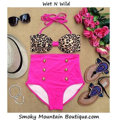 Wet N Wild Retro High Waist Swimsuit (Leopard Print Top & Pink Bottom)