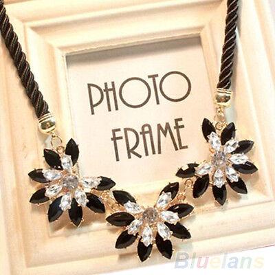 New Design Women Charm Luxury Noble Multi Crystal Flower Bib Necklace BD8U