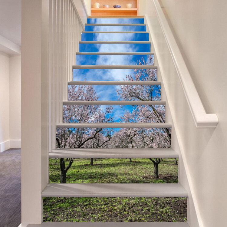 3D Kirsche Baum 64 Stair Risers Dekoration Fototapete Vinyl Aufkleber Tapete DE