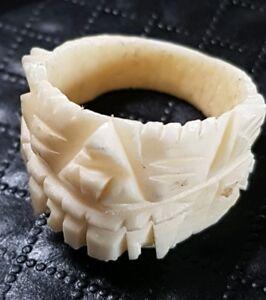 Vintage Tribal Mayan Inca Boho Carved Ivory Colour Bovine Bone Ring Size 6 25 Ebay