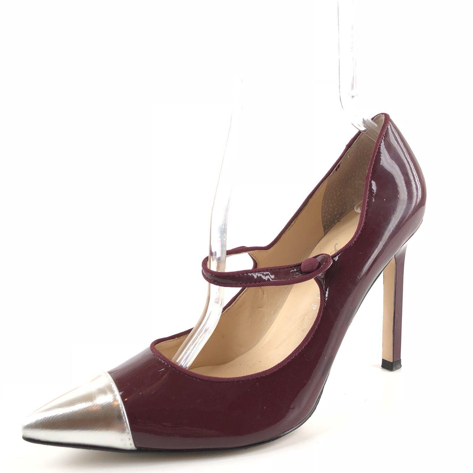Ivanka Trump Carni Burgundy Leather Cap Toe Pumps Womens Size 9.5 M