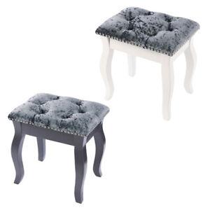 Grey Velvet Dressing Table Chair Vanity Stool Piano Seat Ottoman Footstool Wood