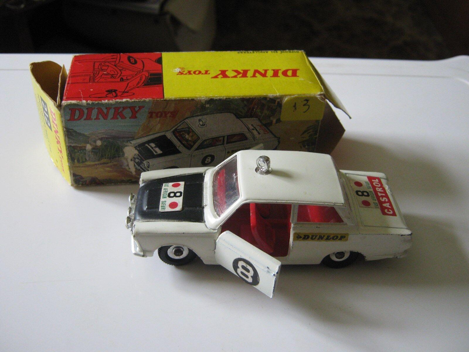 DINKY 212  FORD CORTINA RALLY ORIGINAL LIGHTLY WORN & AGE WORN  ORIGINAL BOX .