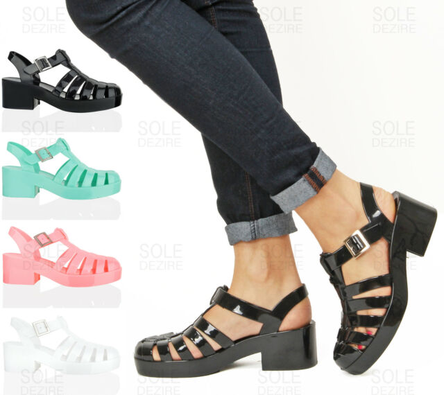 WOMEN LADIES BLACK WHITE CLEAR JELLY BLOCK HEEL SUMMER RETRO SANDALS SHOES SIZE