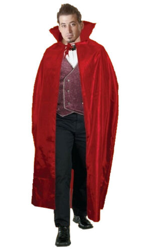 Halloween Red Vampire Carded Cape Long Adult Party Wear Fancy Dress Costume